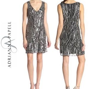Adrianna Papell Silver Beaded Cocktail Dress NWT